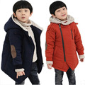 big virgin Kids Boys winter child thickening Hooded wadded jacket outerwear plus velvet cotton-padded coats 6 7 8 9 10 years old