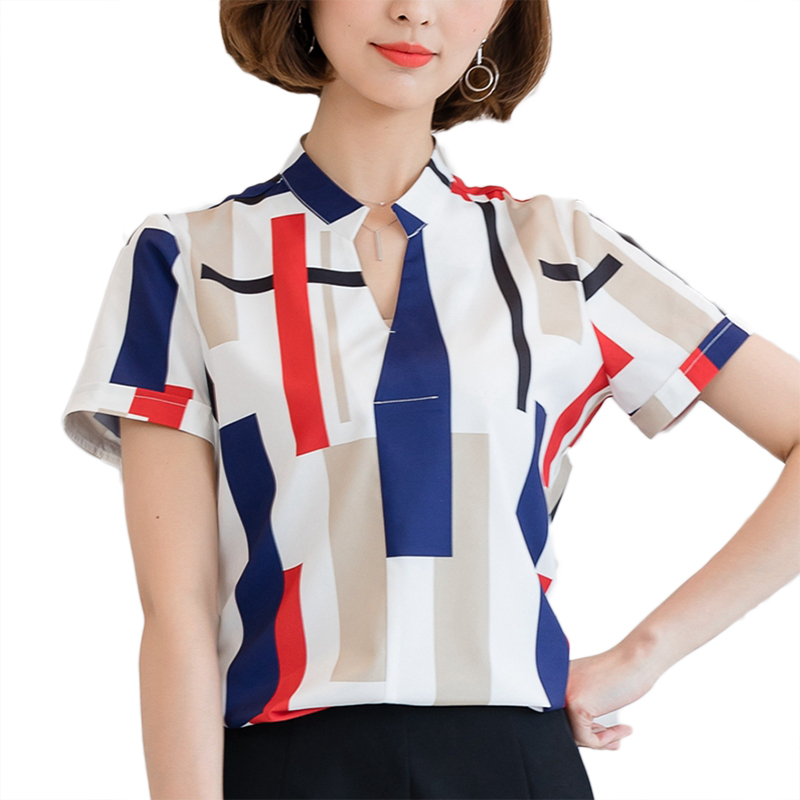2018 New Fashion Women Blouses Summer Shirts Female Clothing Short 3/4 Long Sleeve Blusas Women's Blouse 3D Print Office OL Tops 1