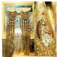 European curtain living room finished luxury air floor curtain golden embroidered jacquard villa curtain fabric