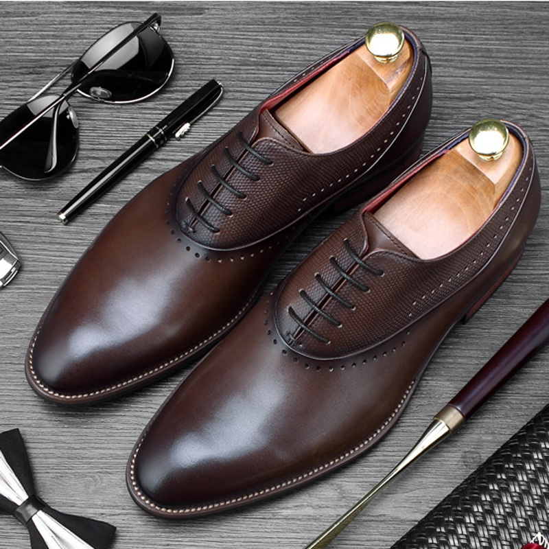 New British Man Formal Dress Goodyear Shoes Genuine Leather Wedding Oxfords Classic Mens Round Toe Carved Brogue Flats SS417New British Man Formal Dress Goodyear Shoes Genuine Leather Wedding Oxfords Classic Mens Round Toe Carved Brogue Flats SS417