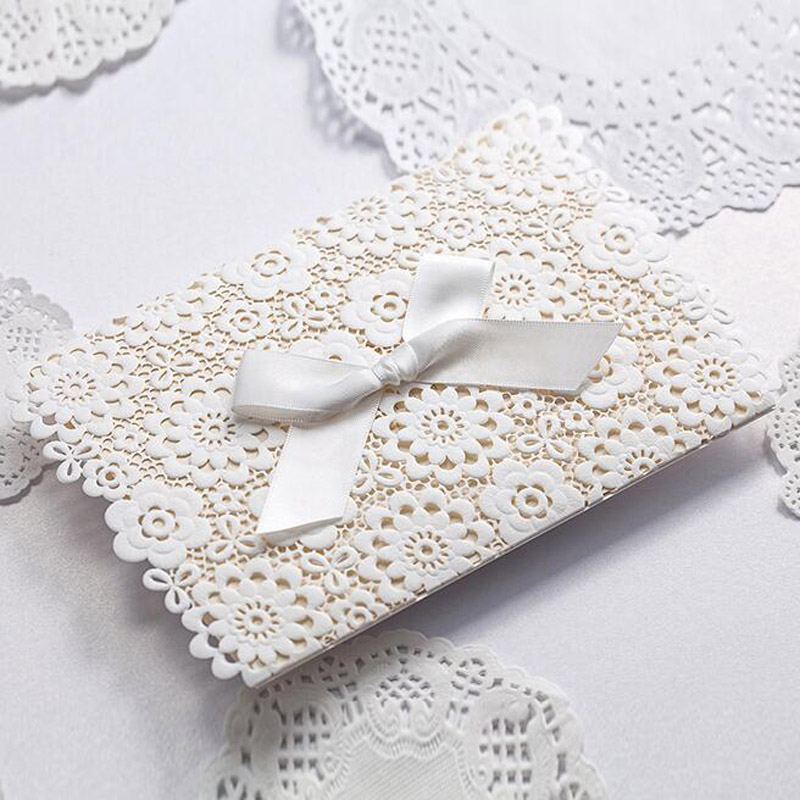 ᗔ1pcs Sample White Laser Cut Wedding Invitations Card Personalized ...