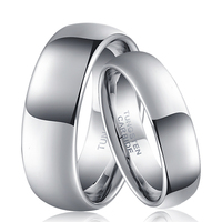 8mm Ring for Groom 6mm Ring for Bride Silver Color Lovers Tungsten Couple Rings Set Classic Weeding Jewelry