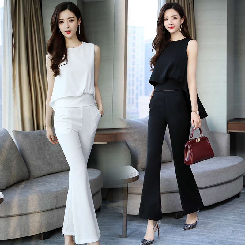 2018 new Women Two Piece Set Tops and long trousers office lady pure color Suits Summer Women Sets-in Women's Sets from Women's Clothing    1