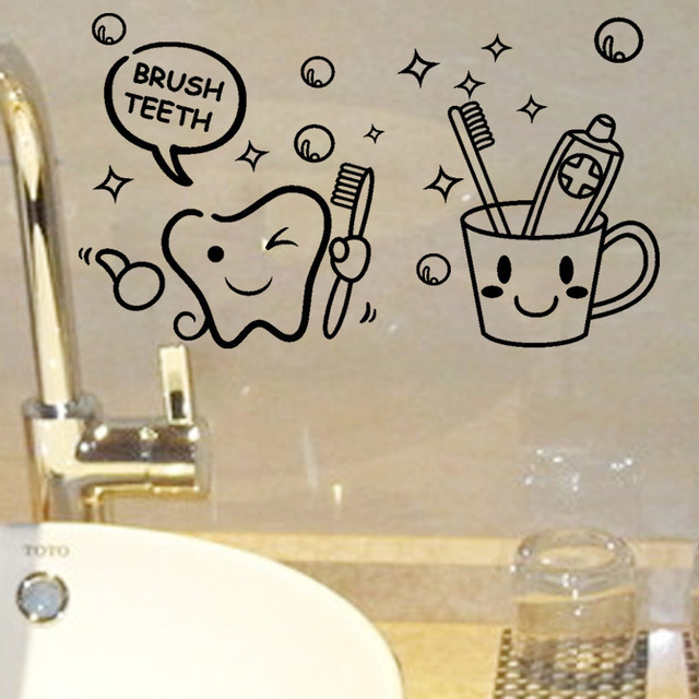 Modern lovely cost price brush teeth cute home decor wall stickers kids bathroom washroom laundry room