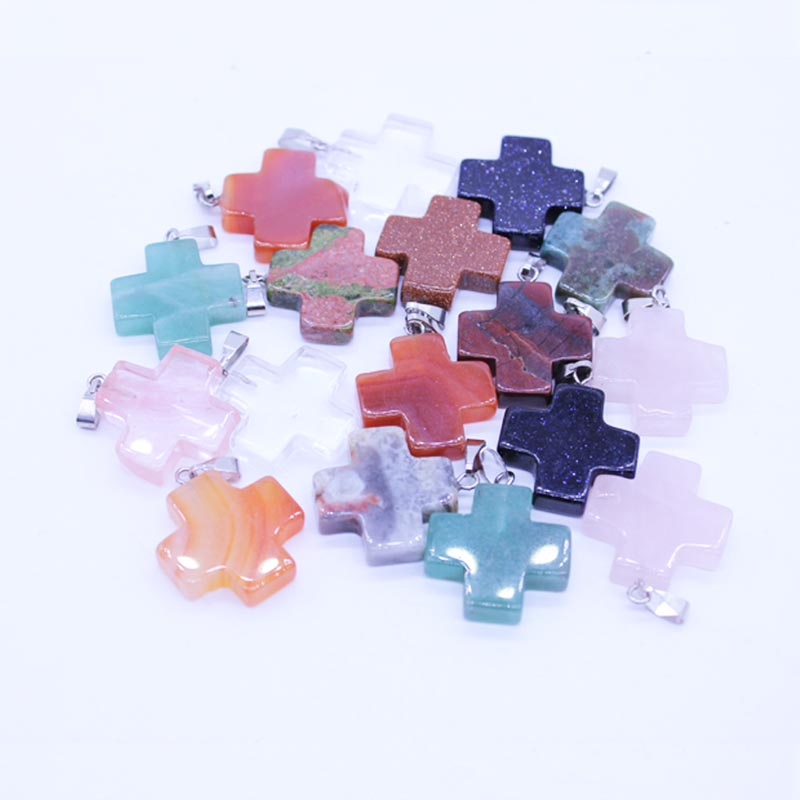 Natural Gem Stone Cross Charms Pendants Opal Crystal Pendulums Fit necklace jewellery making Wholesale 24Pcs/lot High Quality