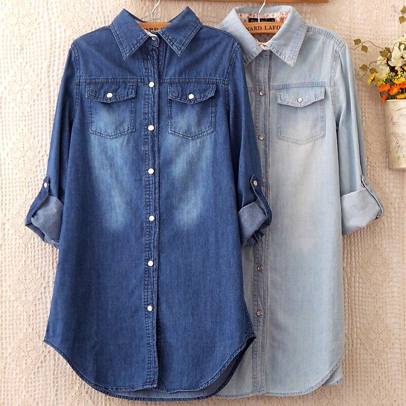 Jeans Shirts Tops Women 2020 Spring Vintage Female Cotton Jeans Blouses Chemise Femme Tunics Plus Size S~3XL Ladies Denim Shirt