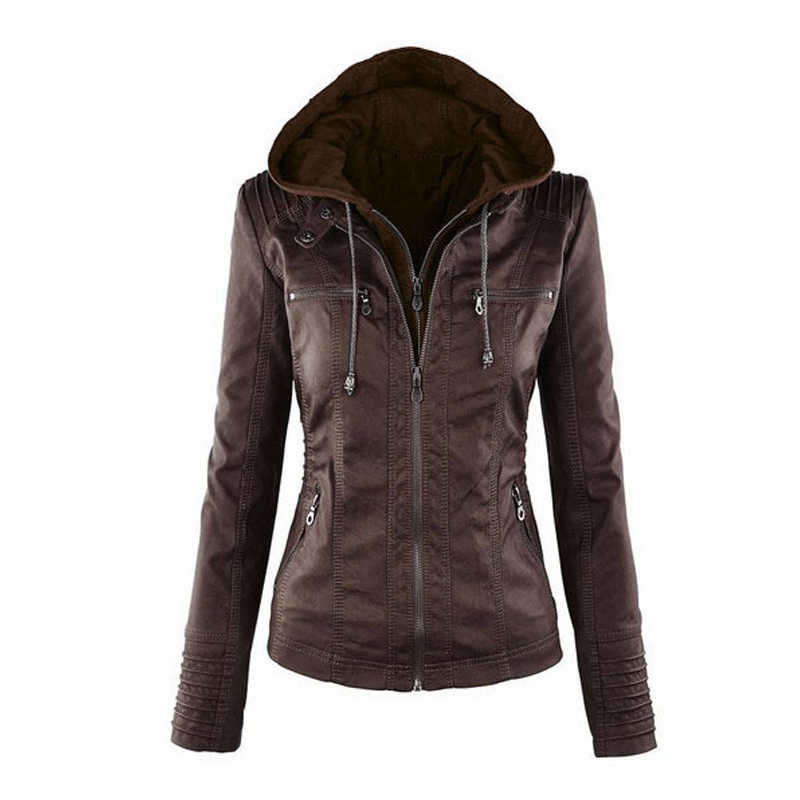 6c96d9755d ... Plus Size 7X PU Hoodie Leather Jacket for Women Black Leather Hooded  Zipper Jacket Front Pocket ...