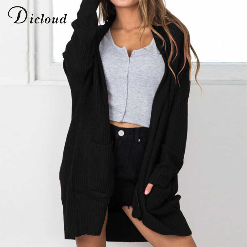 2093dfc275d Dicloud cardigans women autumn long black knitted sweater plus size pocket  long sleeve sweater coat casual