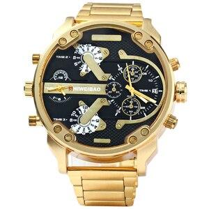 Image 2 - XFCS reloj grande de acero dorado para hombre, de cuarzo, informal, con doble horario, Militar