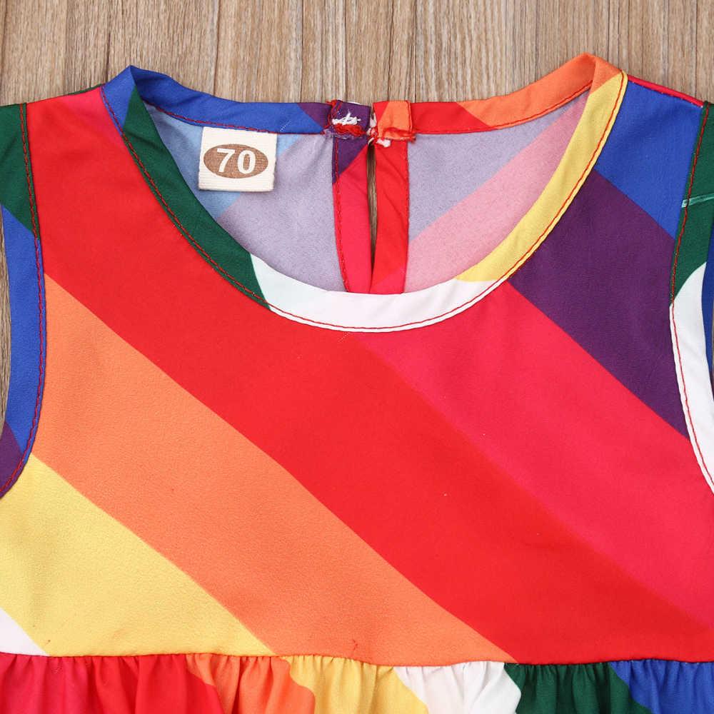 2019, conjunto de ropa de verano para niña, Tops con volantes de arco iris, chaleco alto, pantalones cortos, atuendos para chico, ropa para niños, recién nacidos