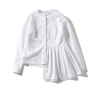 Image 4 - [Eem] yüksek kalite 2020 bahar Hem kat eklenmiş düzensiz ince rahat uzun kollu o boyun gömlek moda yeni kadın bluz LA315
