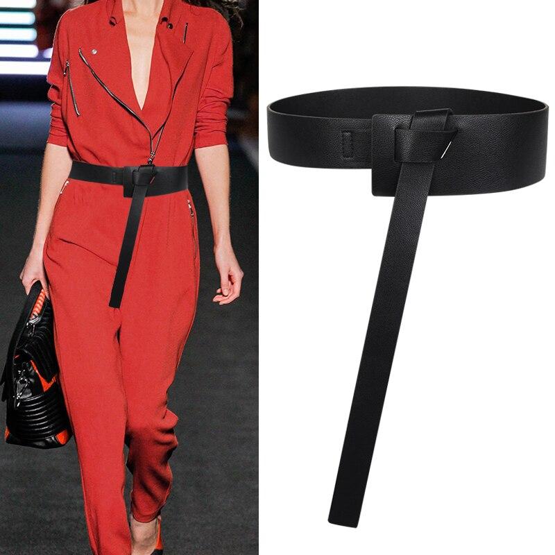 Weibliche Dekoration Mithelfer bündchen heißer schwarz Verknotet gürtel Einfache Bund Lange, Breite Mode Frauen PU Lederband Taille
