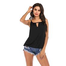 цена на Tops mujer verano 2019 halter top vest Summer V-neck streetwear loose pure-color bead pleated sling grunge halter top