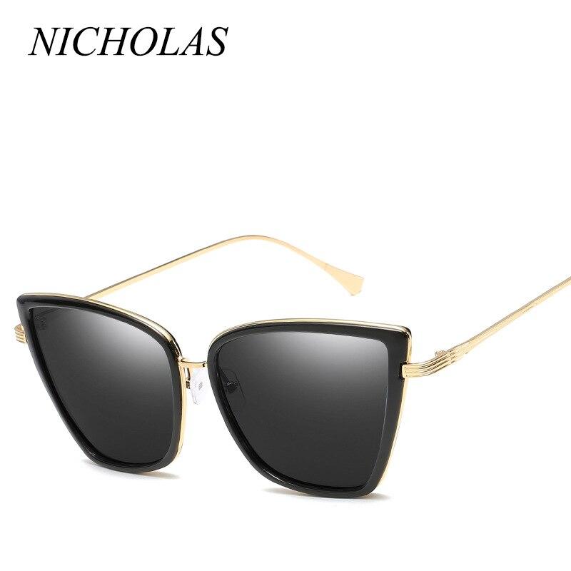43eb97bb5e3bc NICOLAU Gato Olho Óculos De Sol Das Mulheres Dos Homens de Design Da Marca  Big Quadro