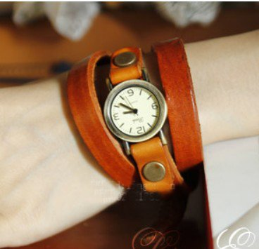 Vintage Punk Real Leather Watch Coffee Red Black