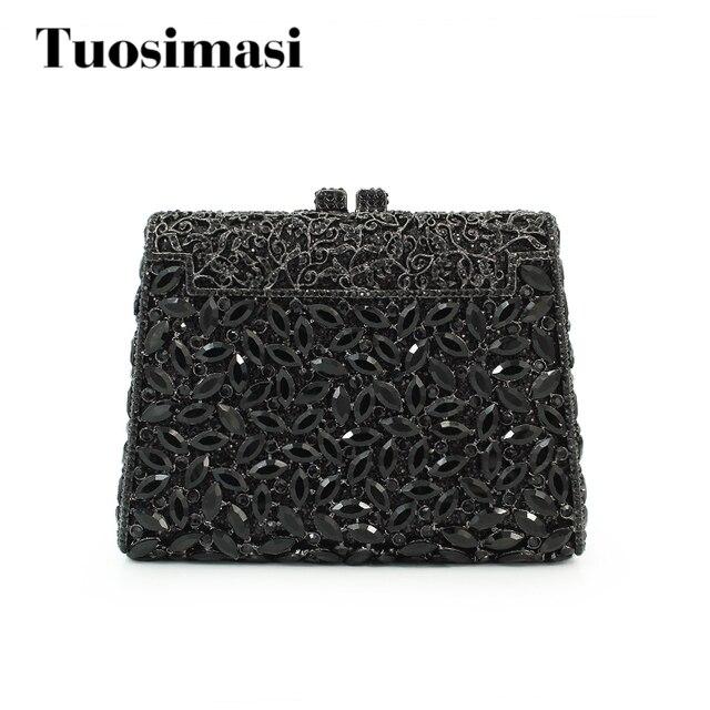Black Stylish Women Evening Bag Luxury Rhinestone Clutch Crystal Handbags Party Purse Wedding Pochette