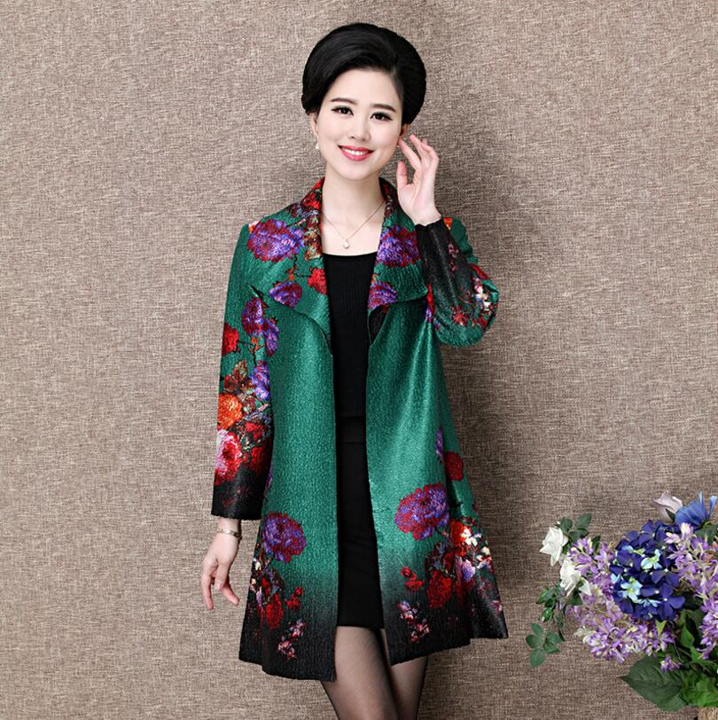 Vintage middle aged Women's   Basic     Jacket   2018 Fashion Middle Age Women elegant print Cardigan Coat Female casaco feminino w963
