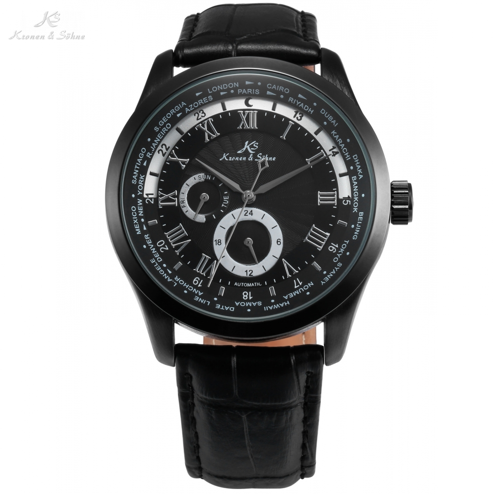 Imperial KS Automatic Full Black 24 Hours Day Roman Analog masculino Relogio Leather Strap Business Mens Mechanical Watch /KS306 ks luxury automatic self wind date day 24 hours black 3 dial steel strap mechanical wrist watches mens gents timepieces ks307