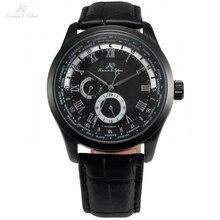 Imperial KS automatique entièrement noir 24 heures jour romain analogique masculino Relogio bracelet en cuir affaires hommes montre mécanique/KS306
