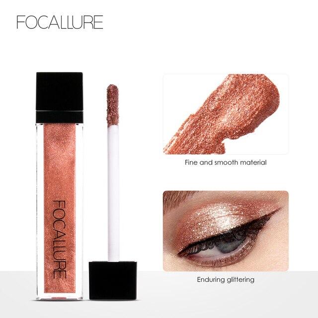 FOCALLURE 10 colores impermeable brillo pigmento maquillaje líquido sombra de ojos maquillaje sombra de ojos metálico