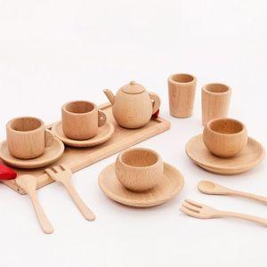 Image 2 - Outils de vaisselle en bois théière tasse à thé thé fête jouer jouet maison de poupée Miniature cuisine vaisselle accessoires pour enfants jouets