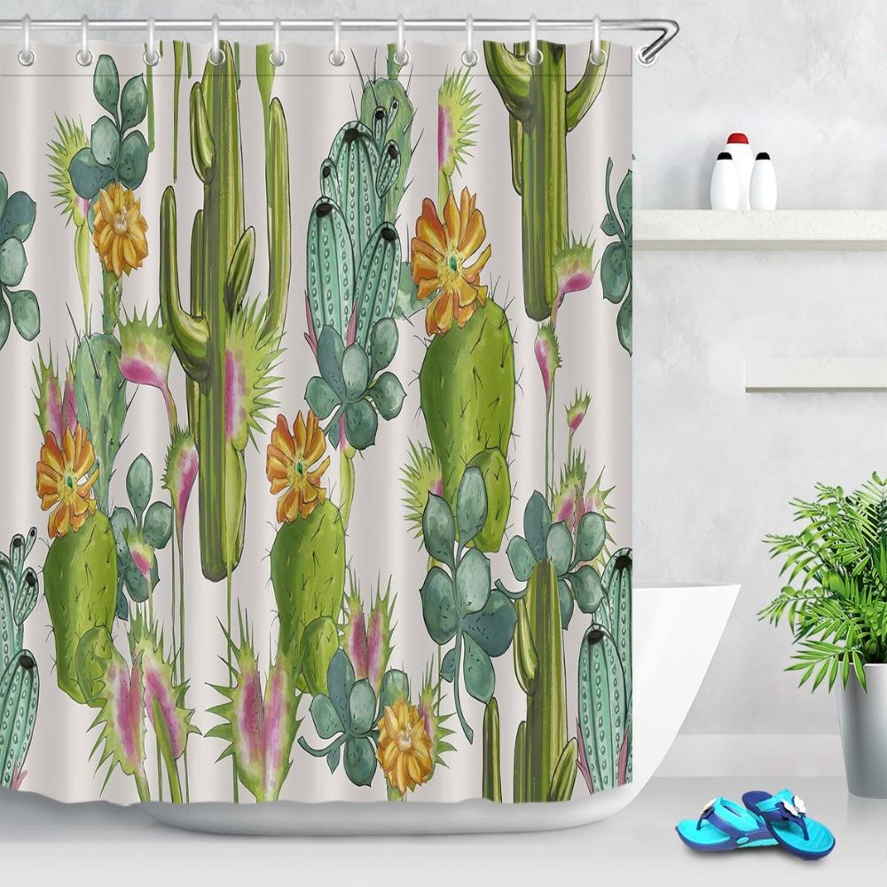 Custom Polyester Green Cactus Flower Shower Curtain Waterprooof Fabric Bathroom