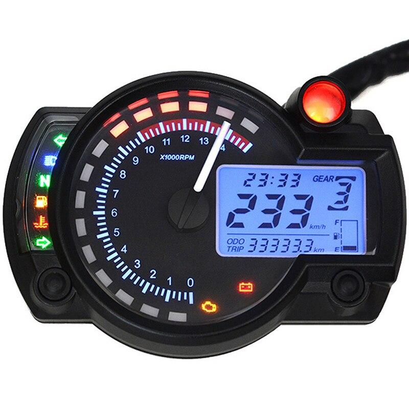 New Arrival 1pc Dual Color LCD Display Motorcycle Digital Speedometer Gauge Tachometer Odometer Instrument Adjustable