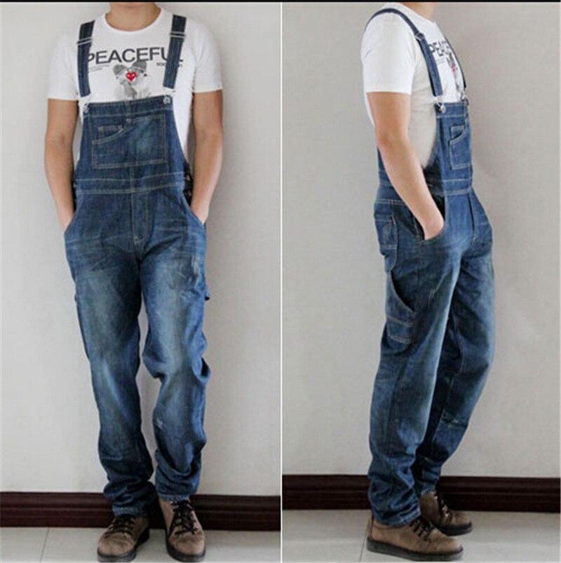 ФОТО Men jumpsuits Jeans plus size XS-4XL overalls Men Large size Jeans huge denim bib pants Fashion pocket jumpsuits Male