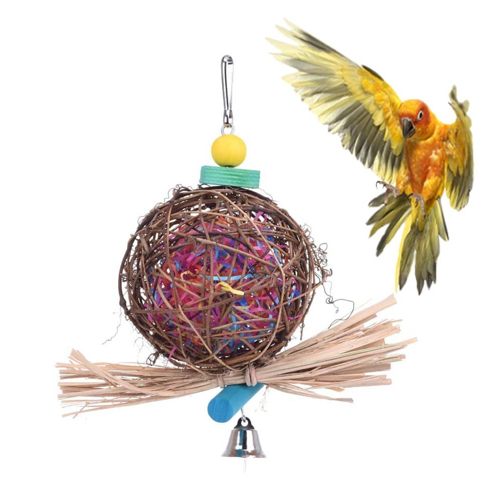 New Arrival Parrot Toy Handmade Wood Rattan Ball Bird Chew Toys Wire ...
