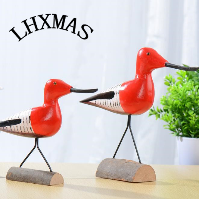 2pcs/set New Nordic Creative Love Bird Wood Crafts Home Ornaments <font><b>Seabird</b></font> Ornaments E566 image