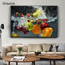 Embelish 1 Pieces  Fresh Fruit and Vegetables In Water Large Wall Posters For Home Kitchen Decor Living Room HD Canvas Paintings