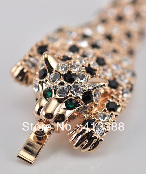 Top Quality 18 K Rose White Gold Cover AAA CZ Leopard Bijou Bracelet Jewelry Rhinestone Panther Bracelets Mens Women Homme for bass fretboard markers inlay sticker decals twisted snake
