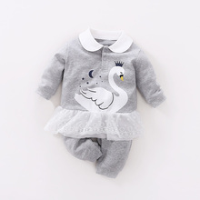 YiErYing Baby Jumpsuits Spring and Winter Pure Cotton Newborn Cartoon Swan Autumn Outfit Newborns Romper