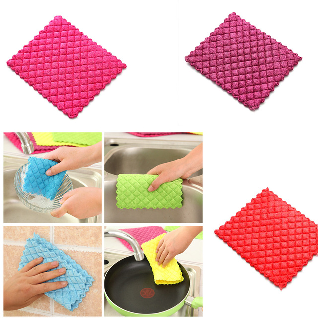 Best High efficient Anti-Greasy color dish cloth colorful washing dish towel magic Kitchen cleaning cloth wiping rags