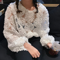 White Lace blouse 2017 New Arrival Loose women tops O-Neck cool Shirt Puff Sleeves Splice Lace Floral Appliques blusa Pullover