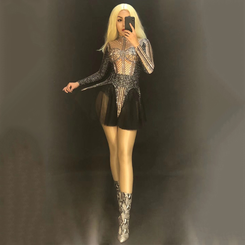 Stage Costume Black Rhinestone Jumpsuit Women Nightclub Performance Clothing For Singers Rave DJ Gogo Dancer Bodysuit DNV10528