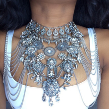 Best lady Sexy DIY Summer Body Necklace Chain Luxury Chunky Metal Maxi Necklace&Pendant Femme Statement Instagram Necklace 3026