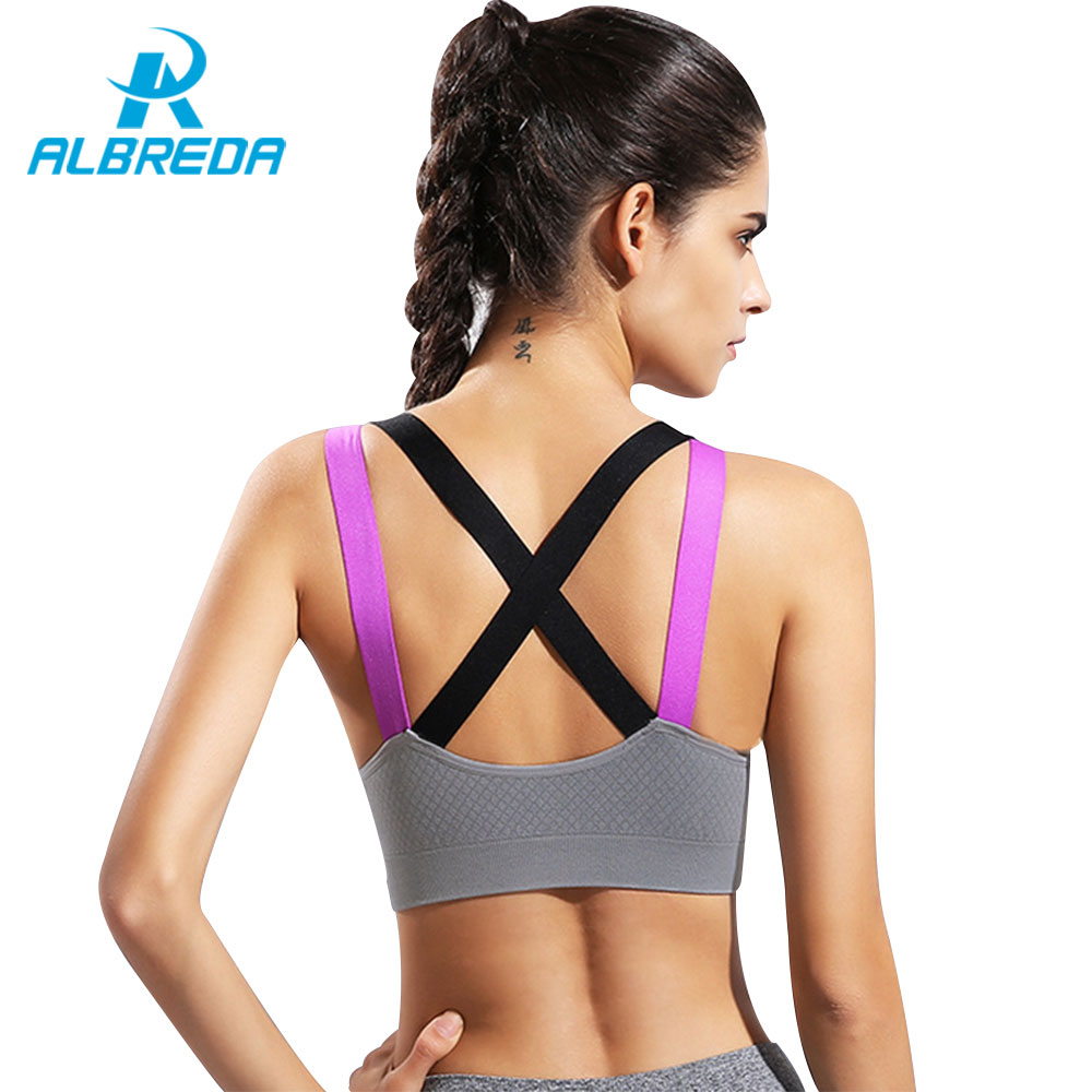 ALBREDA Women Fitness Yoga Push Up Sports Bra Running Gym Tank Top Athletic Vest Underwear Shakeproof Bodybuilding Sport Bra fitness workout clothing and women s gym sports running girls slim leggings tops women yoga sets bra pants sport suit for female