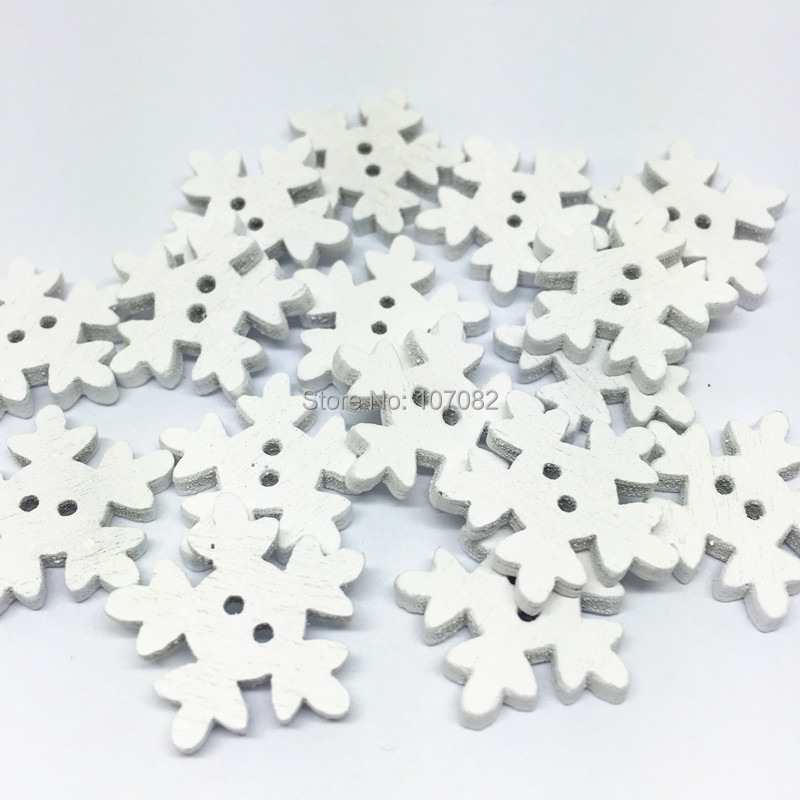 Us 16 37 9 Off 1500pcs 18mm White Wood Snowflake Shaped Buttons 2 Hole Christmas Button Crafts Embellishments Scrapbooking In Buttons From Home