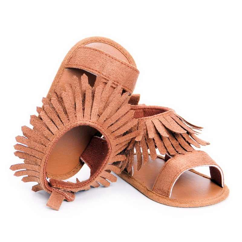 Fashion summer double tassel pu leather Baby sandals child girls and boys sandals soft sole kids baby sandals shoes