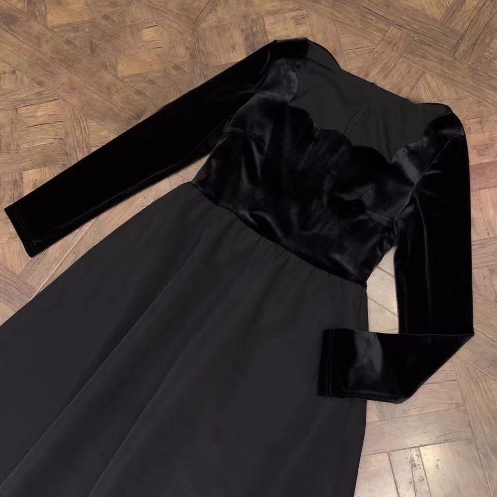 Women Long Dress 18 Spring Autumn Patchwork Dress Women Fashion Long Sleeve Dress 3