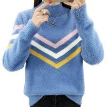 ef6801e2d7f945 Nowy sweter z golfem kobiet moda 2019 jesień zima topy damskie swetry z  dzianiny moher z długim rękawem Jumper Pull Femme L67