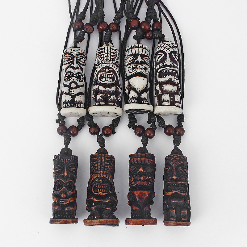Carved Brown Tiki Fashion Tribal Bone New Cool Pendant Necklace Tiki Totem Innovatis Suisse Ch