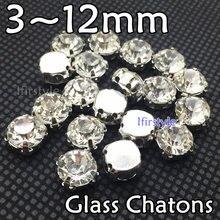 Novo cristal claro cor redonda costurar em strass diamante de vidro 3/4/5/6/7/8mm chatons de vidro com configuração de garra k branco