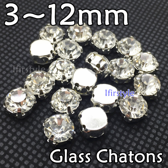 4689cebd2f US $3.89 28% OFF|New Crystal Clear Color Round Sew on Glass Diamante  Rhinestones 3/4/5/6/7/8/10 mm Glass Chatons With White K Claw Setting-in  Beads ...