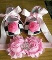 2015 New Girl infant tiara bebé ; bebés recién nacidos zapatos de bautizo ; zapatos del niño con perlas de arranque establece diademas
