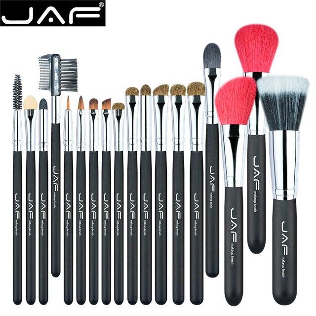 JAF 18 Pcs Makeup Brushes Natural Animal Red Goat Hair Pony Horse Hair Professional Make Up Brush Set Eyeshadow Blending Brush