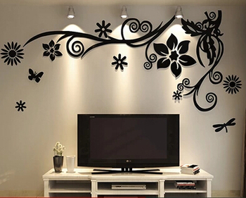 3D stereo Flower vine Acrylic Crystal Wall stickers Home Decor Diy Mirror Wall sticker Tree Living room Sofa TV Background Decal 10