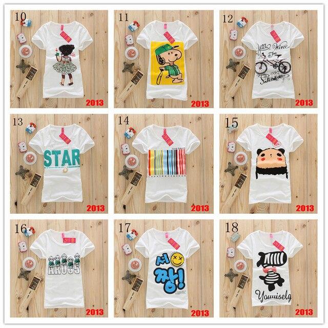 Hot sale!!! Fashion Good Quality Cotton T Shirt Women Tops Round T-shirts 49 models free shipping
