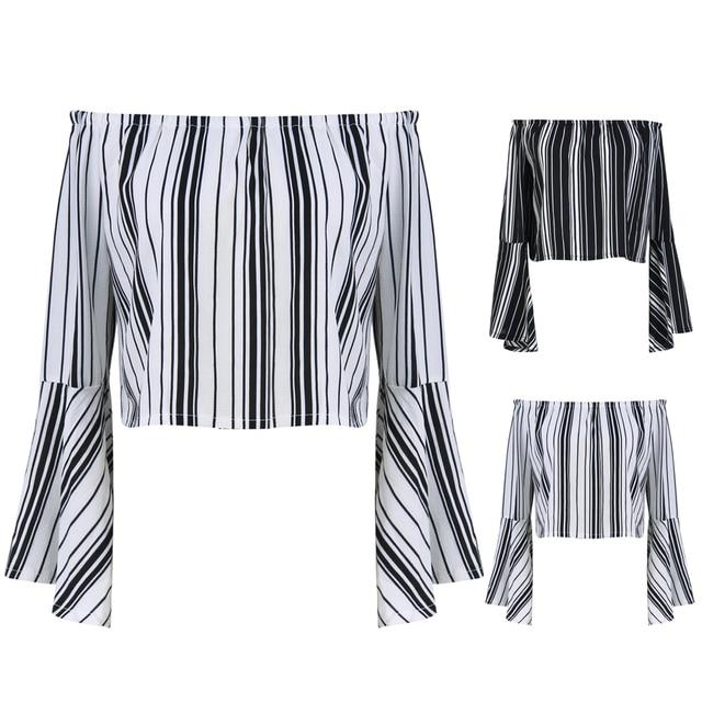 3a9fcdcf075f0 2018 Casual Off Shoulder Top Long Sleeve Korean Shirt Women Clothes  Vertical Striped Off Shoulder Ruffle Top Blouse